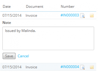 Add note to each invoice